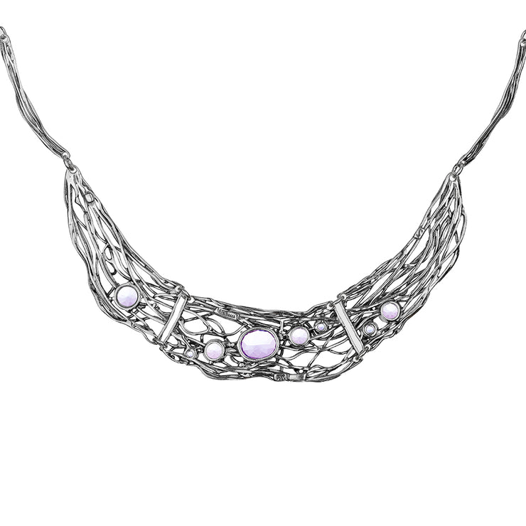 Sterling Silver Amethyst Statement Necklace - Paz Creations