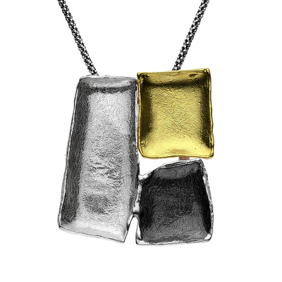 Sterling Silver Tricolor Statement Necklace - 14k & Black Rhodium Plating - Pendant Necklace - Paz Creations