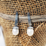 Sterling Silver Drop Pearl Earrings - Paz Boutique  - Paz Creations Jewelry