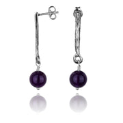 Sterling Silver Gemstone Drop Stick Earrings - Paz Creations