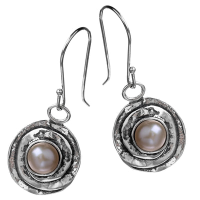 Silver Pearl Textured Double Circle Earrings - Paz Creations