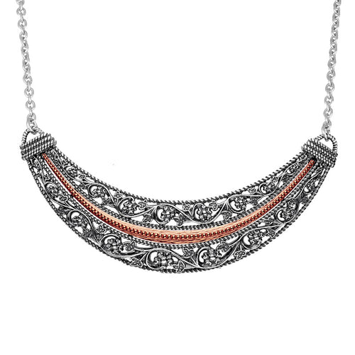 Silver Floral Lace Design Necklace - Paz Creations