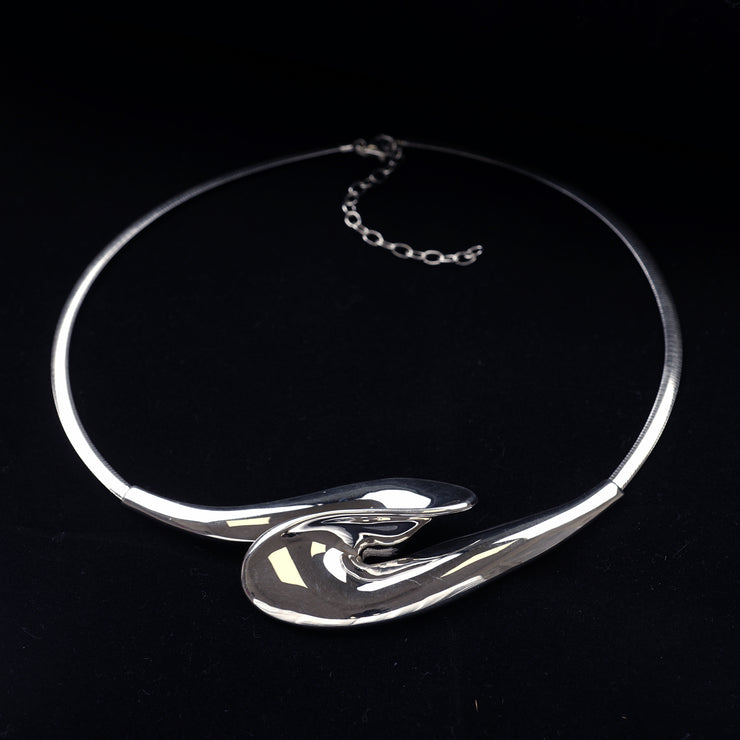 Polished Sterling Silver Sculpted Wave Statement Necklace - Paz Boutique  - Paz Creations Jewelry