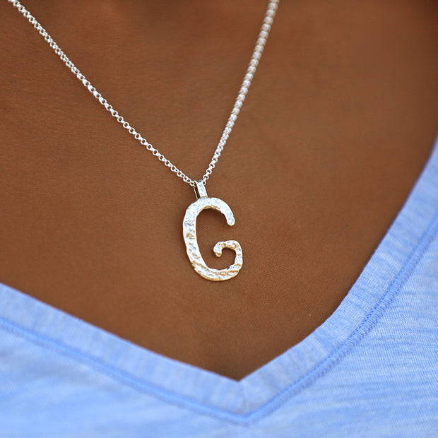 Silver Initial Pendant Necklaces - Personalized  - Paz Creations Jewelry