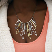 Sterling Silver Textured Link Statement Necklace  - Paz Creations Jewelry