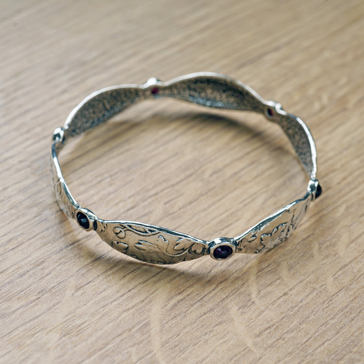 Sterling Silver Garnet Gemstone Bangle Bracelet - Paz Boutique  - Paz Creations Jewelry