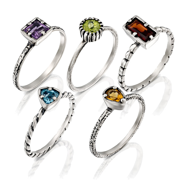 Sterling Silver Multi Gemstone Stackable Ring Set - 5 Rings  - Paz Creations Jewelry