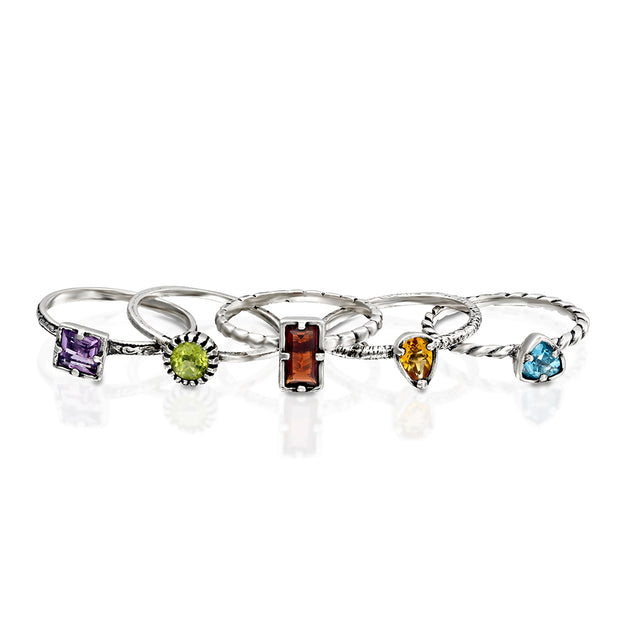 Sterling Silver Multi Gemstone Stackable Ring Set - 5 Rings - Paz Creations