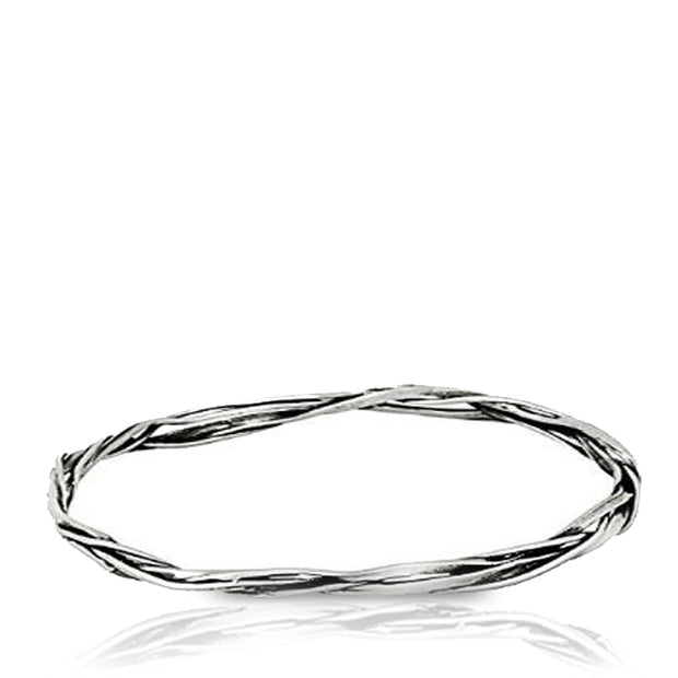 Sterling Silver Twisted Bangle - Paz Creations