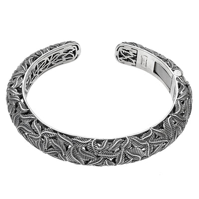 Silver Vine Design Hinged Cuff - Paz Creations