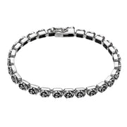 Sterling Silver Rose Design Tennis Bracelet  - Paz Creations Jewelry