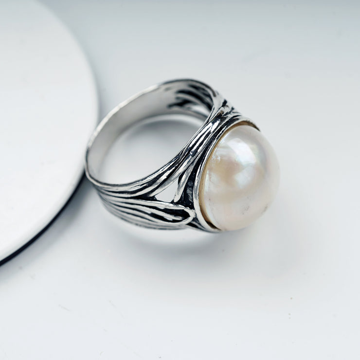 Sterling Silver Mabe Pearl Ring, by Paz Boutique  - Paz Creations Jewelry