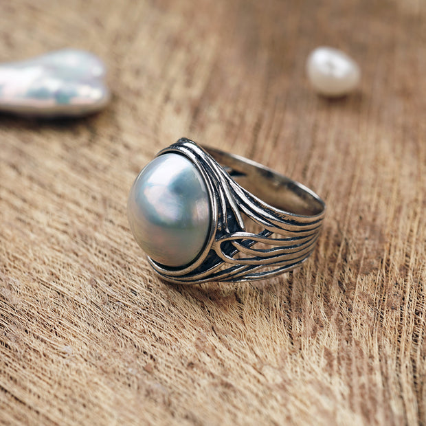 Sterling Silver Mabe Pearl Ring, by Paz Boutique - Paz Creations