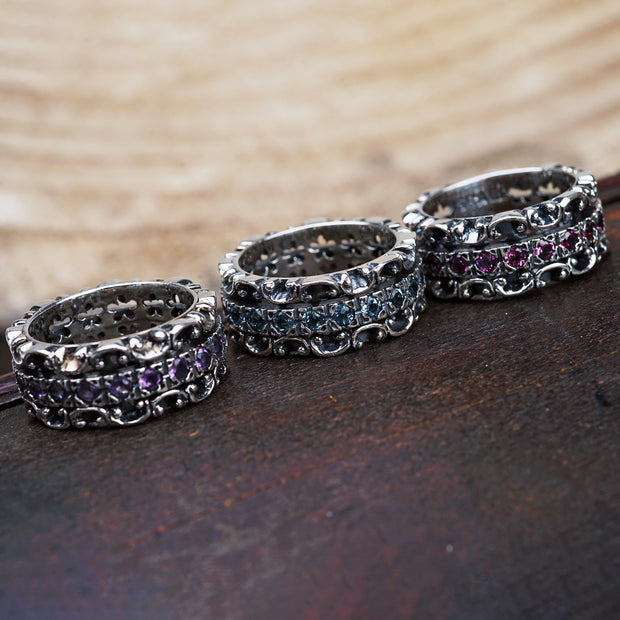 Sterling Silver Gemstone Spinner Eternity Band Ring - Paz Boutique  - Paz Creations Jewelry
