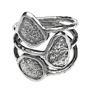 Sterling Silver Multi-Row Oxidized Ring - Paz Creations