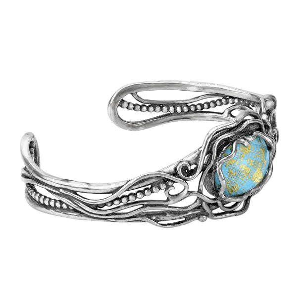 Sterling Silver Triplet Turquoise Cuff Bracelet  - Paz Creations Jewelry