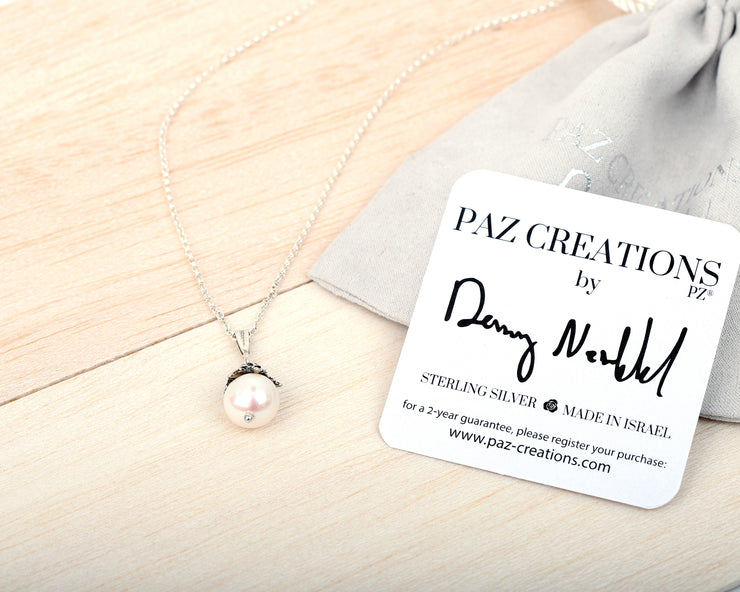 Sterling Silver Floral Pearl Necklace  - Paz Creations Jewelry