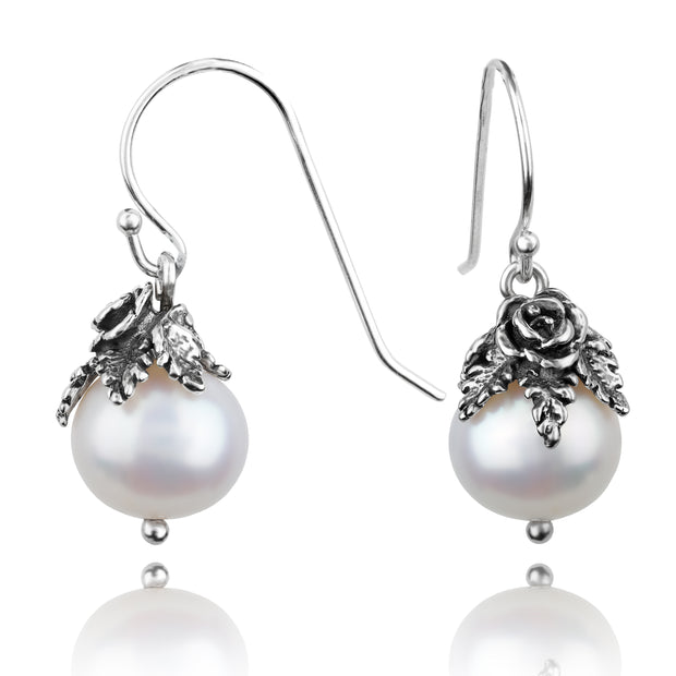 PAZ Creations .925 Sterling Silver Pearl Dangle Earrings  - Paz Creations Jewelry