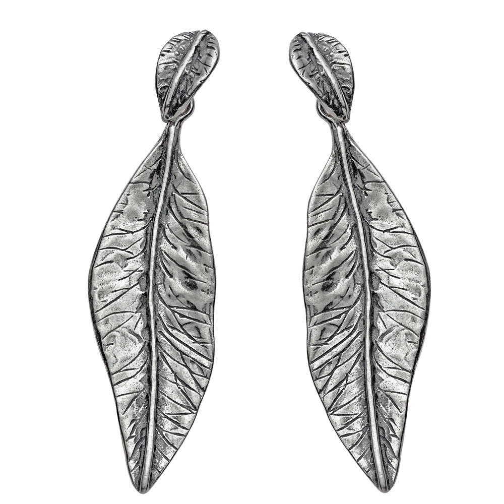 Silver Leaf Dangle Earrings - Paz Creations