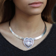 Sterling Silver Heart Shaped Pendant, Made in Israel - Paz Creations