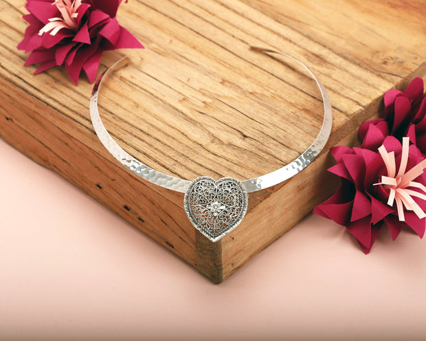 Silver Heart Necklace & Cuff Set - Paz Creations
