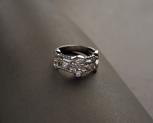 Silver Cubic Zirconia Triple Row Band Ring - Paz Creations