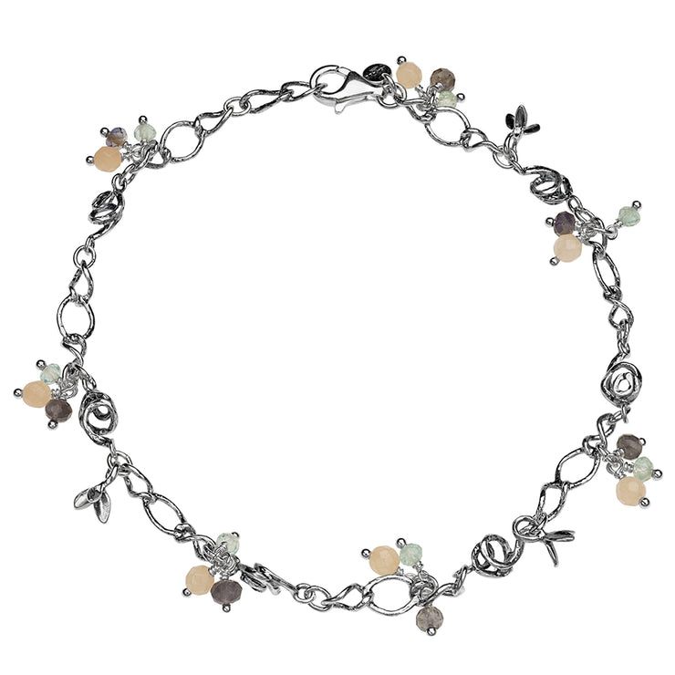 Sterling Silver Anklet with Beaded Gemstones - Paz Creations
