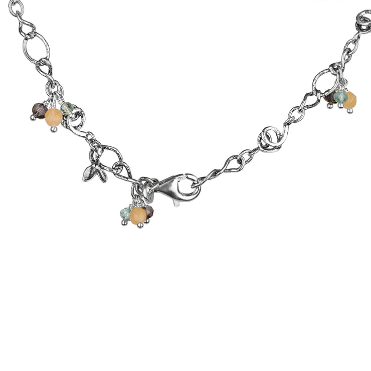 Sterling Silver Anklet with Beaded Gemstones  - Paz Creations Jewelry