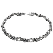 Silver Gemstone & Rose Tennis Bracelet  - Paz Creations Jewelry