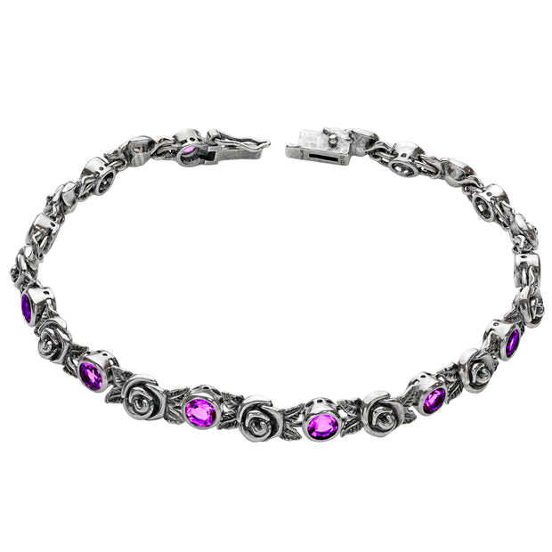 Silver Gemstone & Rose Tennis Bracelet - Paz Creations