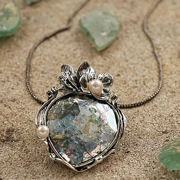 Roman Glass and Pearl Pendant Sterling Silver  - Paz Creations Jewelry