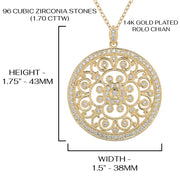 14K Gold Plated Necklace with Cubic Zirconia pendant  - Paz Creations Jewelry