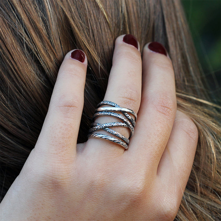 Silver Multi-texture Highway Ring - Paz Creations