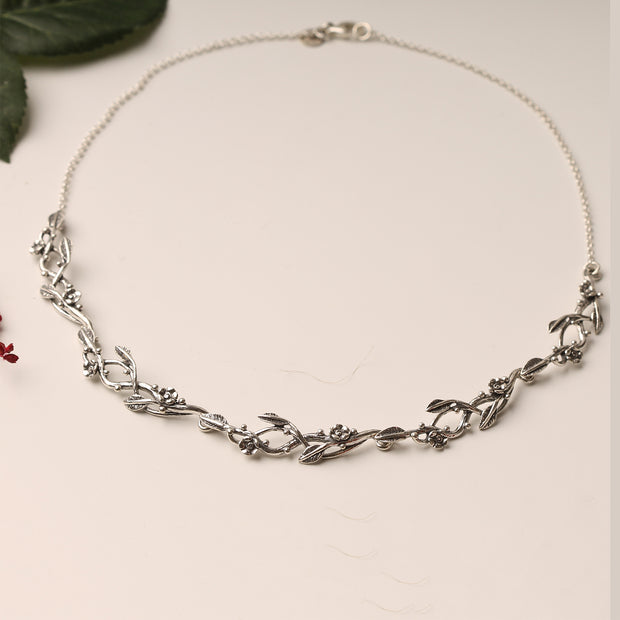 Sterling Silver Flowers and Leaves Necklace  - Paz Creations Jewelry