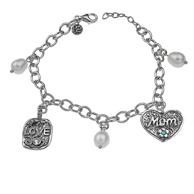 Sterling Silver Charm Bracelet for Mother's Day - with Pearls, Love & Mom Charms  - Paz Creations Jewelry