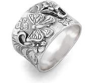 Sterling Silver Butterfly Floral Band Ring  - Paz Creations Jewelry