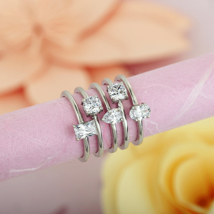Sterling Silver Cubic Zirconia 5 Stack Ring Set - Paz Creations