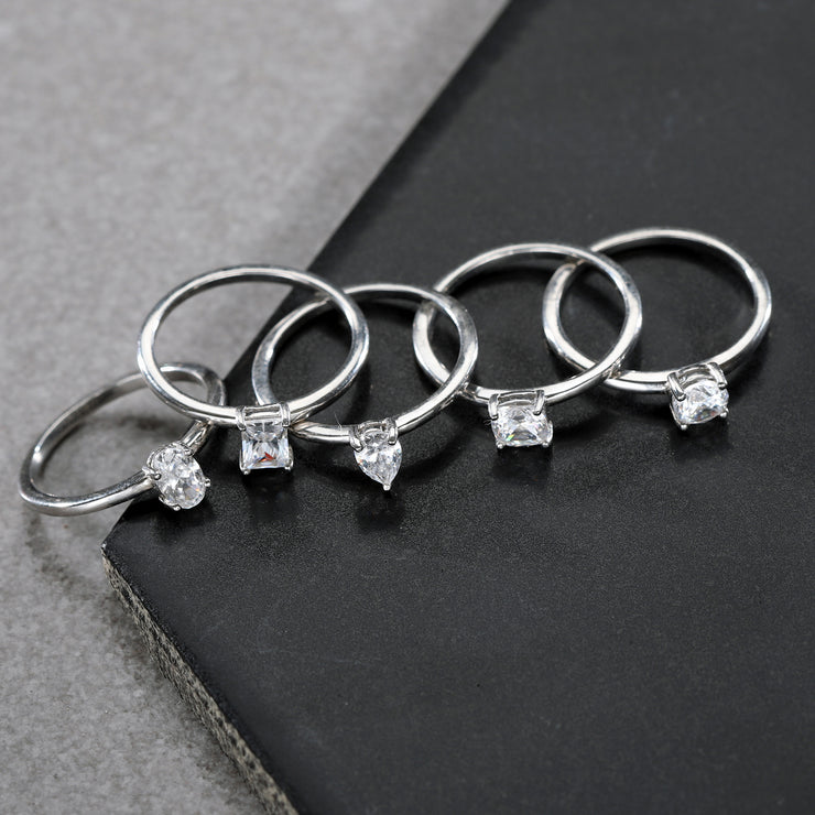 Sterling Silver Cubic Zirconia 5 Stack Ring Set  - Paz Creations Jewelry