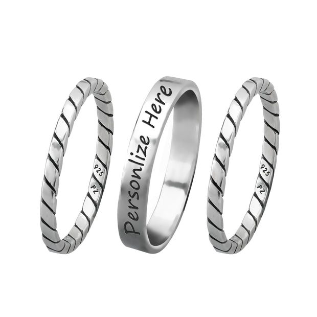 Sterling Silver Personalized Stack Ring  - Paz Creations Jewelry