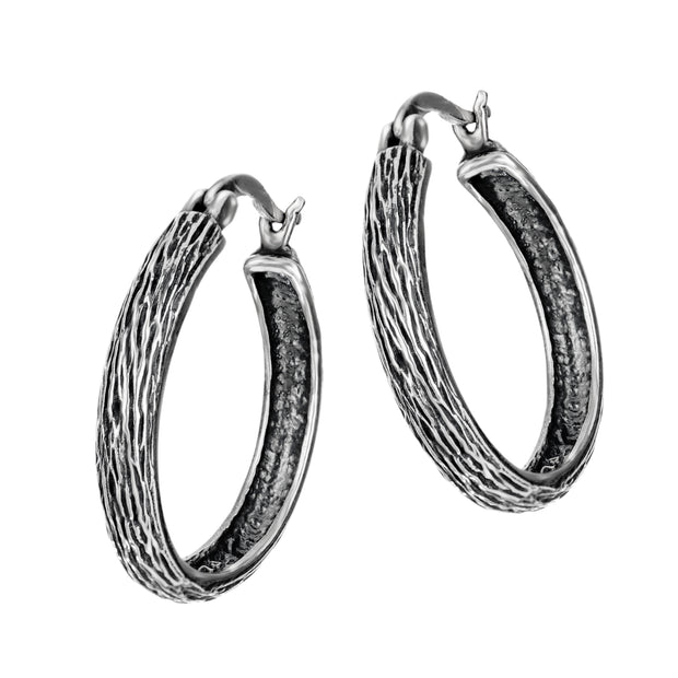 Sterling Silver Hoop Earrings with Braided Designs  - Paz Creations Jewelry