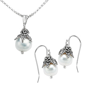 Silver Cultured Pearl Necklace & Earrings Set