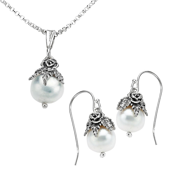 Silver Cultured Pearl Necklace & Earrings Set - Paz Creations