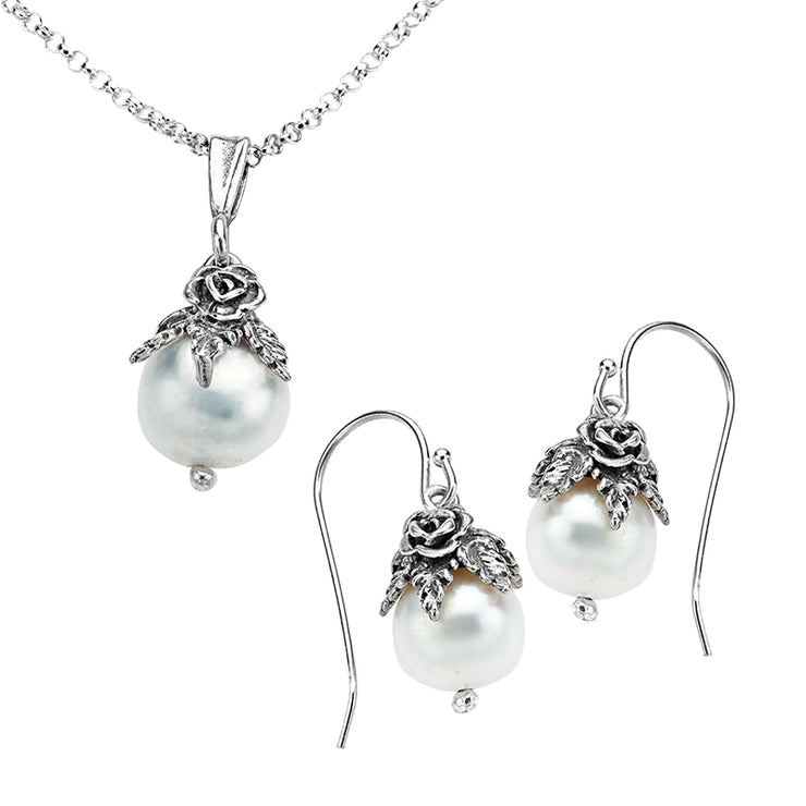 Silver Cultured Pearl Necklace & Earrings Set  - Paz Creations Jewelry