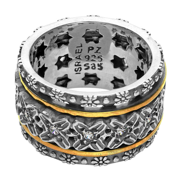 Silver & 14K Gold Crystal Spinner Ring  - Paz Creations Jewelry