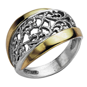 Silver and 14k gold open work design ring