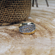 Silver and 14K Gold Lace ring Ring - Paz Creations