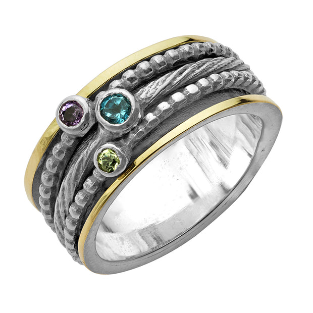Silver & 14K Gold Multi-Gemstone Spinner Ring  - Paz Creations Jewelry