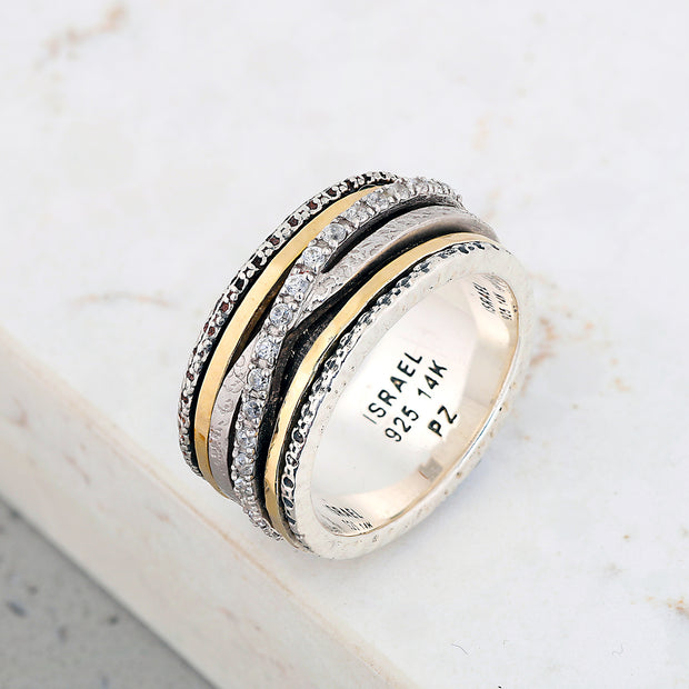Sterling Silver and 14k Gold Wrapped White Zircon Spinner Ring - Paz Boutique  - Paz Creations Jewelry