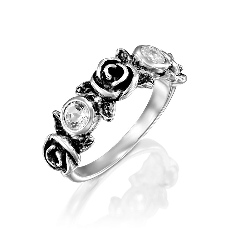 Sterling Silver Gemstone and Rose Flower Ring  - Paz Creations Jewelry