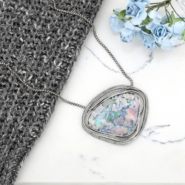 Sterling Silver Roman Glass Pendant Necklace - Paz Creations